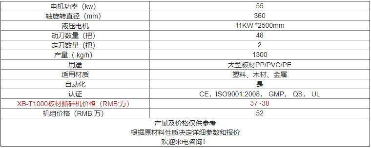 XB-T1000板材撕碎机价格及参数